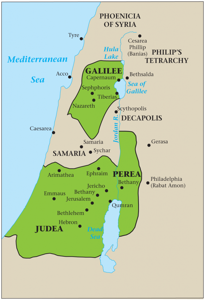 12.02.02.Z Map of Three Jewish Provinces of Judea, Galilee, and Perea