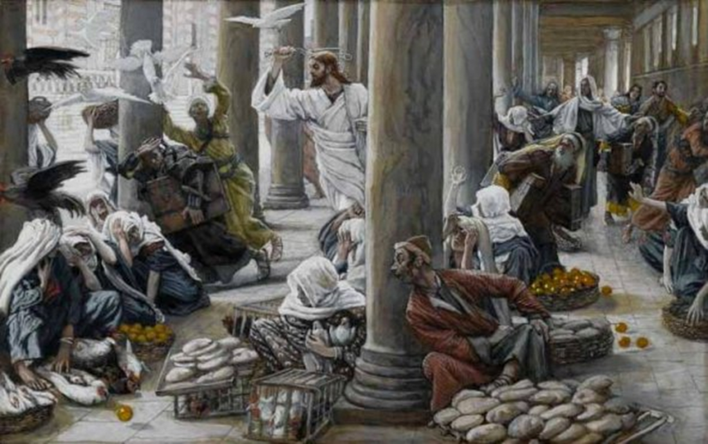 13.02.00.A. MERCHANTS CHASED FROM THE TEMPLE. Illustration by James Tissot. 1884.