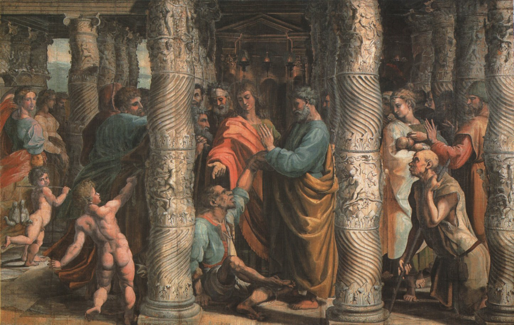 13.04.00.A.  THE HEALING OF THE LAME MAN by Raphael. 1516.