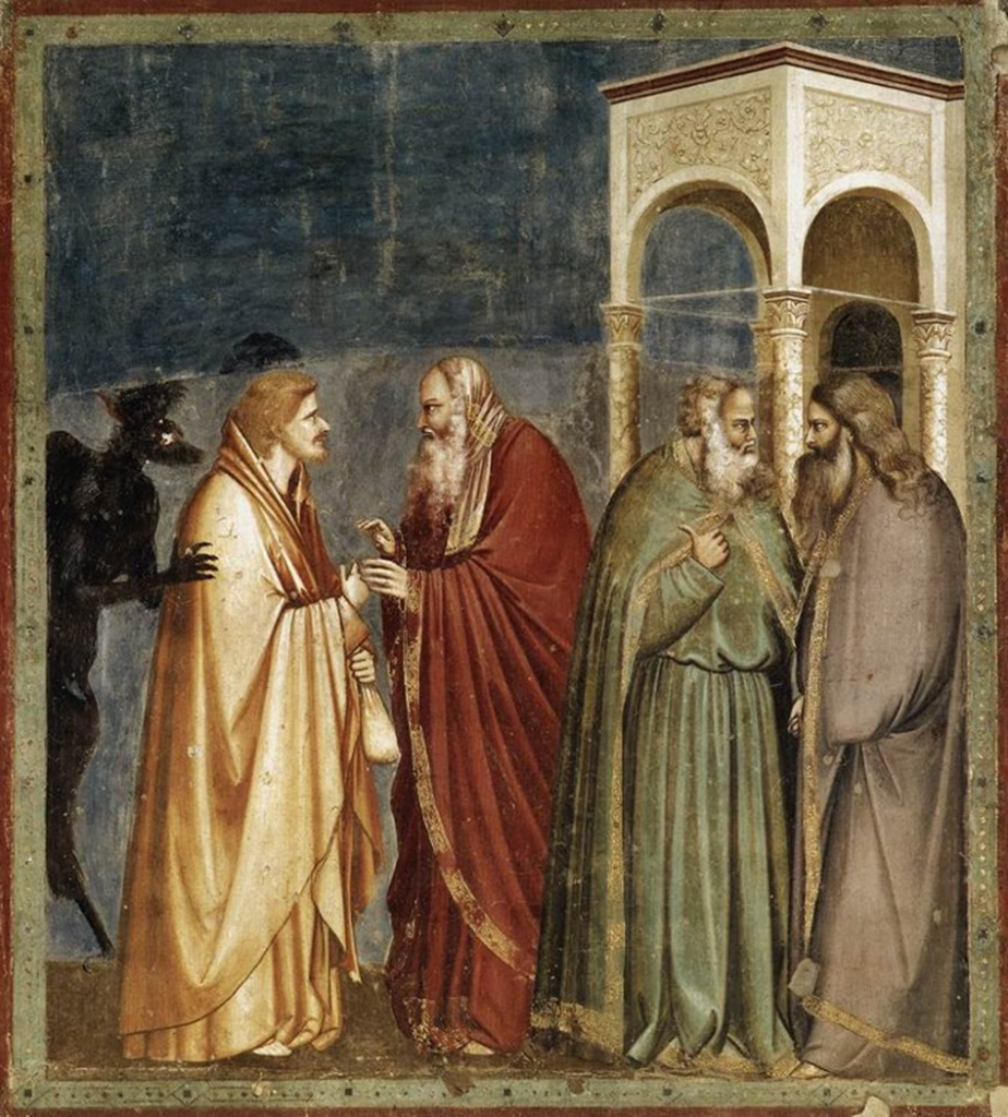 14.01.00.A. JUDAS BETRAYS CHRIST by Giotto (c. 1267-1337).