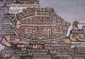 14.02.03.D. Jerusalem as depicted on the A.D. 542 mosaic Madaba Map. Wikipedia Commons.