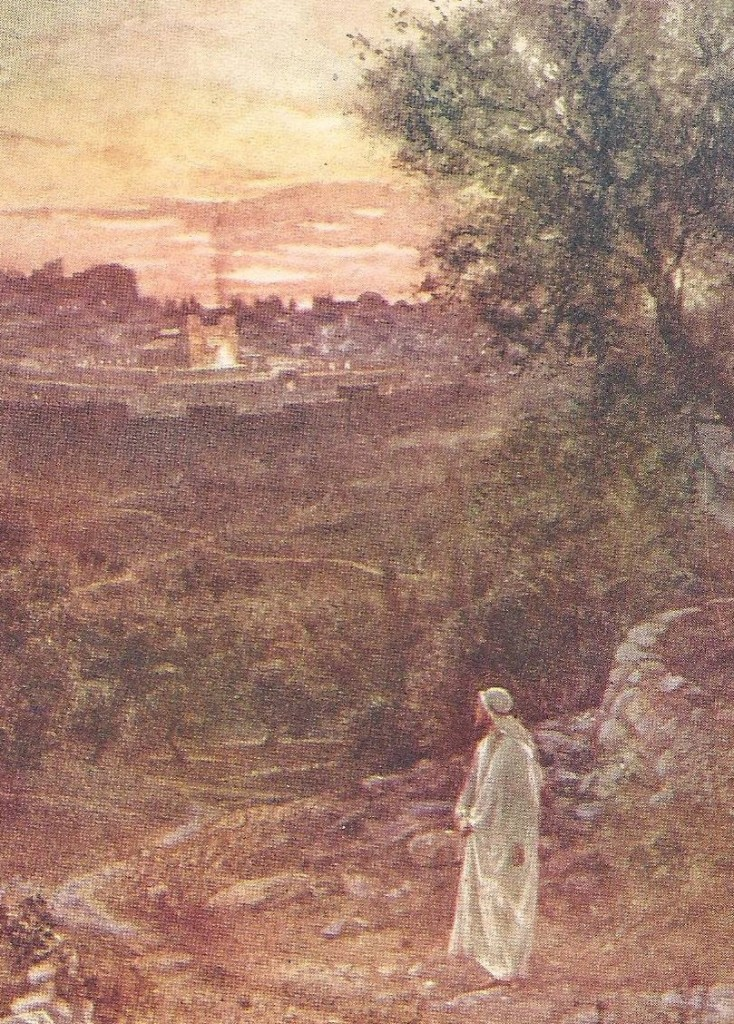 15.01.00.A. JESUS LOOKS MOURNFULLY OVER THE CITY OF JERUSALEM. Artwork by William Hole of the Royal Scottish Academy of Art, 1876. (3)