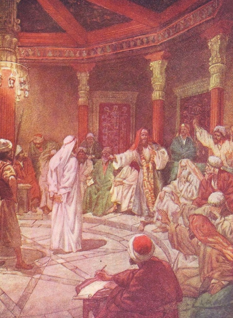 15.03.00.A. JESUS IS EXAMINED BY CAIAPHAS. Artwork by William Hole of the Royal Scottish Academy of Art, 1876. (3)
