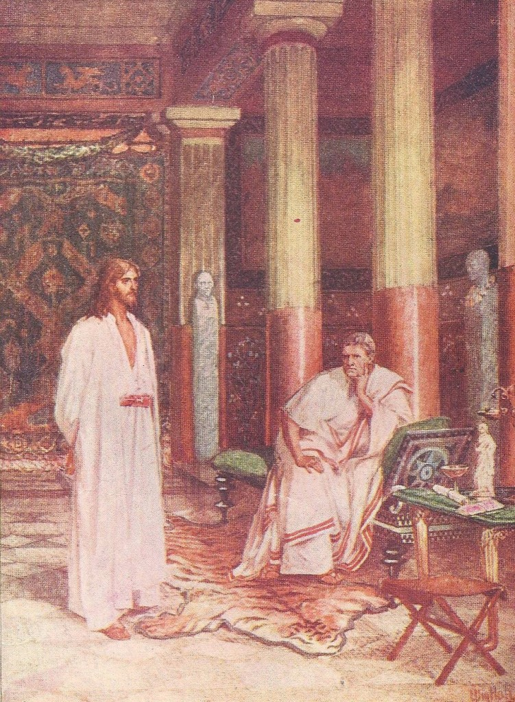 15.04.00.A. JESUS BEFORE PILATE. Artwork by William Hole of the Royal Scottish Academy of Art, 1876. (2)