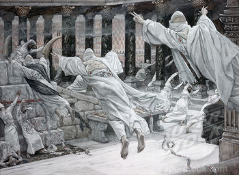 17.01.00.A. THE DEAD APPEAR IN THE TEMPLE by James Tossit. 1879.
