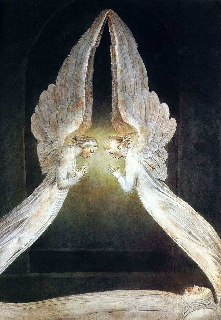 17.02.00.A. CHRIST IN THE SEPULCHRE GUARDED BY ANGELS by William Blake 1805.