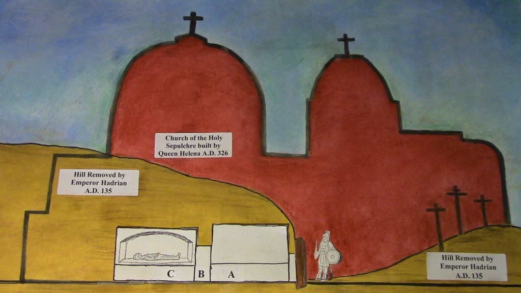 17.02.02.D AN ILLUSTRATION OF A DOUBLE CHAMBER ARCOSOLIUM TOMB WITH SHADOW OF THE CHURCH OF THE HOLY SEPLUCHRE