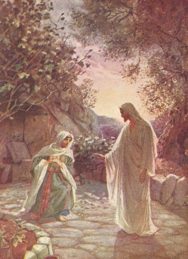 18.01.00.A. JESUS REVEALS HIMSELF TO MARY MAGDALENE. Artwork by William Hole of the Royal Scottish Academy of Art, 1876. (2)