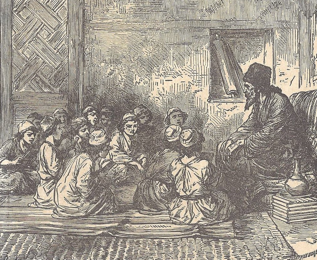 02.03.00.A. CHILDREN IN A SYNAGOGUE SCHOOL. Illustration by Godfrey Durand. 1896. (2)
