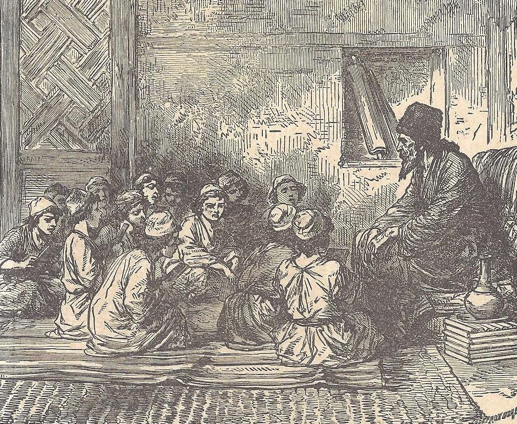 02.03.00.A. CHILDREN IN A SYNAGOGUE SCHOOL. Illustration by Godfrey Durand. 1896. (2)