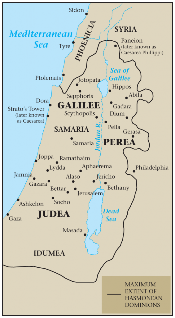 03.05.05.Z MAP OF THE HOLY LAND UNDER HASMONEAN DOMINATION (2ND CENTURY B.C.).