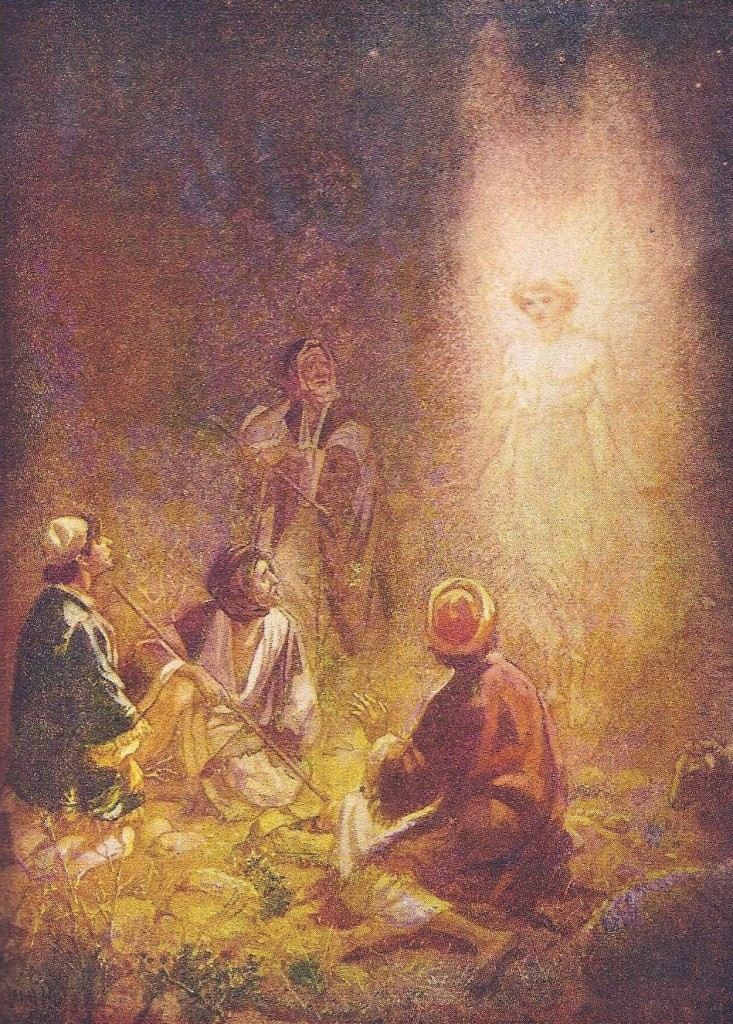04.04.00.A. THE BIRTH OF JESUS IS ANNOUNCED BY AN ANGEL. Artwork by William Hole of the Royal Scottish Academy of Art, 1876. (2)