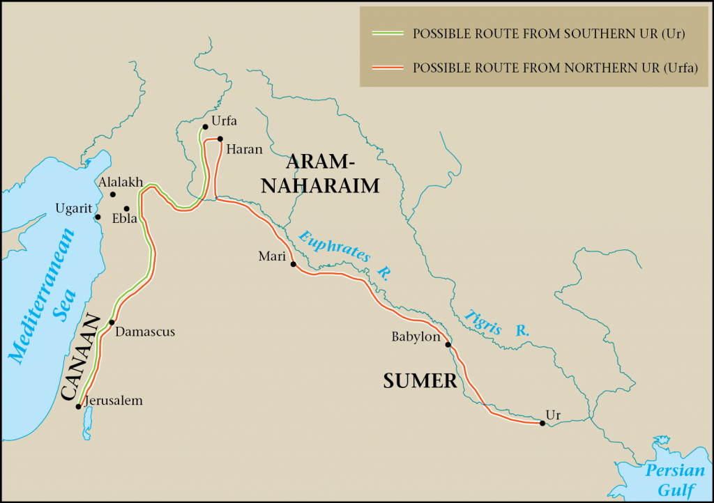 04.04.06.Z A MAP OF THE POPULAR ROUTE FROM UR AND BABYLON TO JERUSALEM