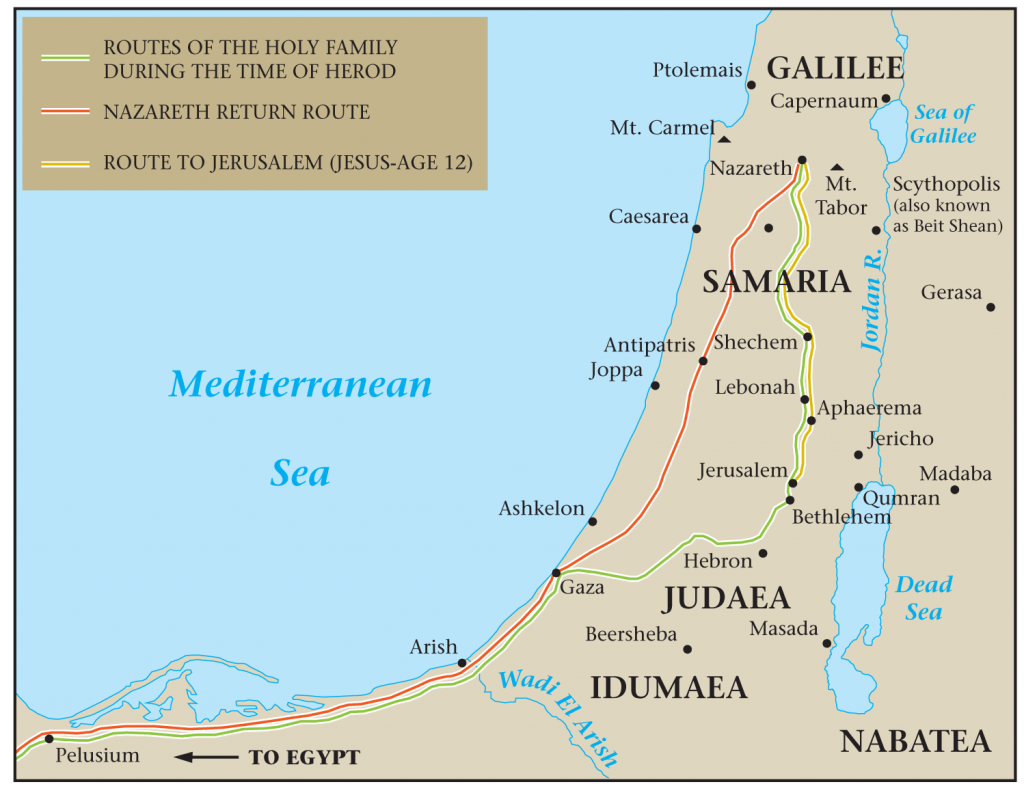 04.05.02.Z. A MAP OF THE HOLY FAMILY'S ROUTE TO FROM EGYPT