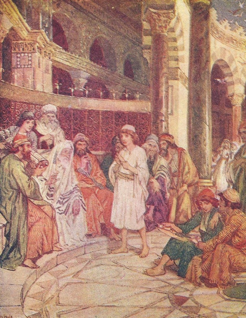 04.06.00.A. JESUS AND TEMPLE LEADERS. Artwork by William Hole of the Royal Scottish Academy of Art, 1876. (2)