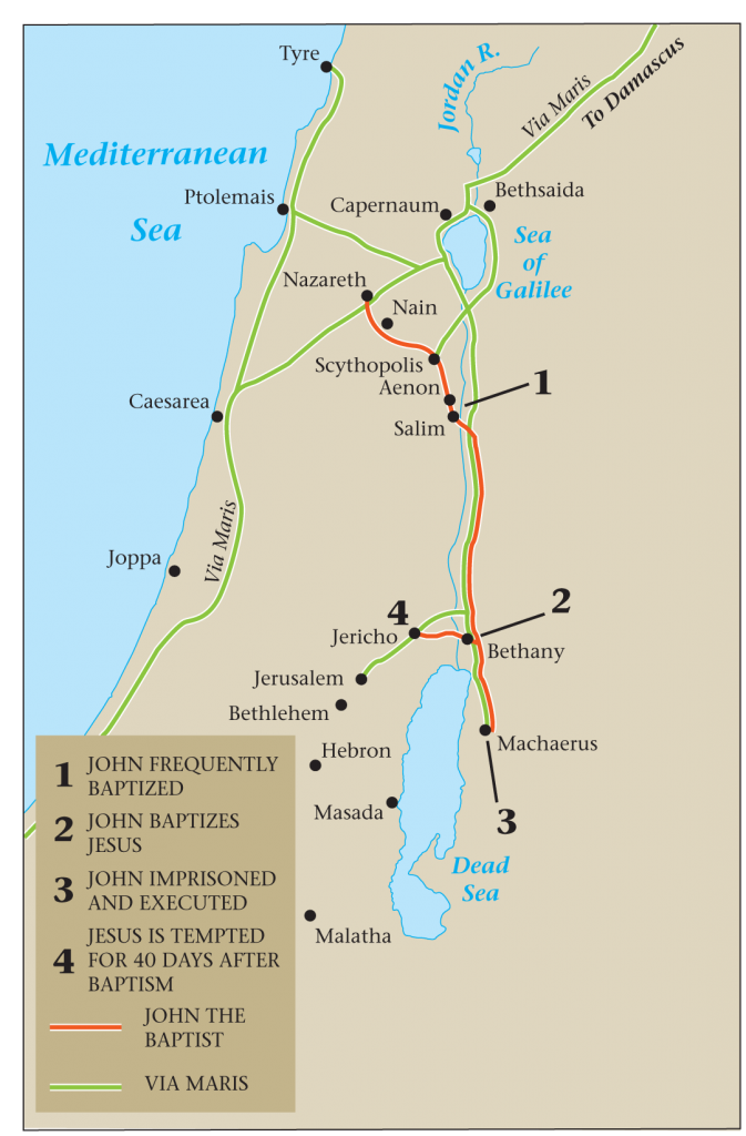 05.03.01.Z MAP OF THE TRAVEL ROUTE OF JOHN THE BAPTIST