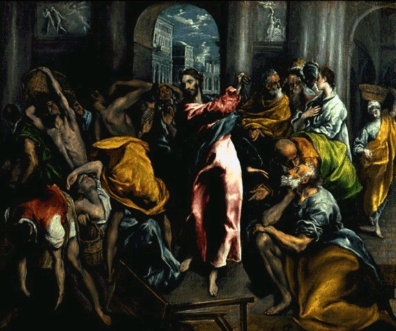 05.05.00.A SCOURGING THE MONEYCHANGERS FROM THE TEMPLE by El Greco. 1600
