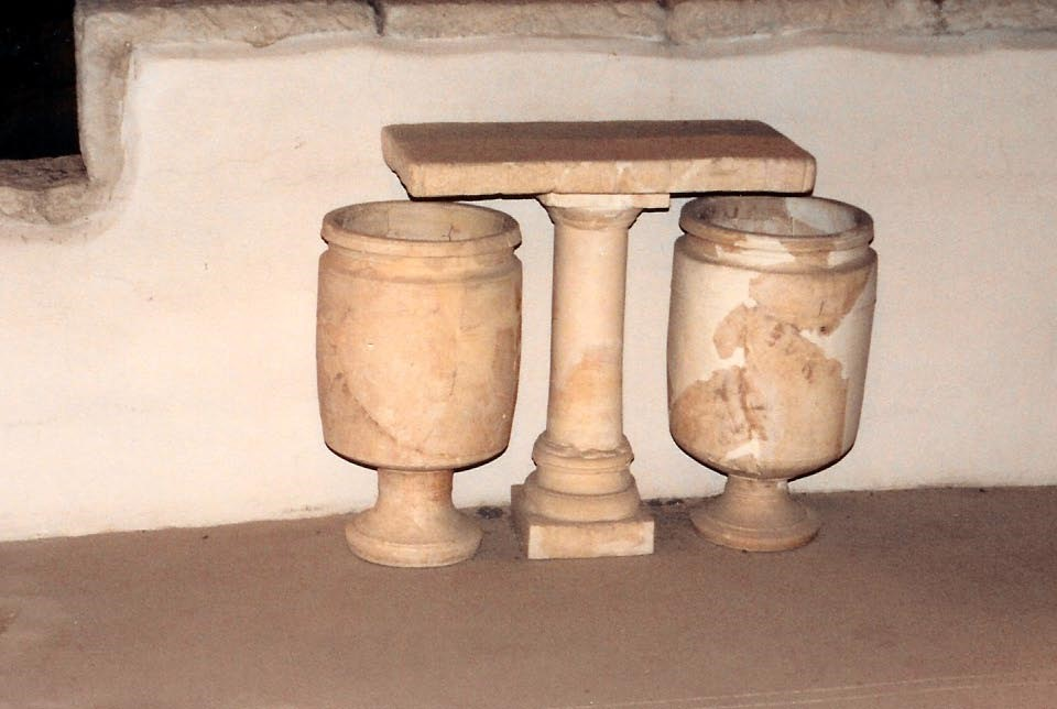 05.05.02.A. TWO RITUAL STONE WATER VESSELS