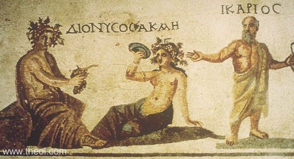 05.05.02.B. FLOOR MOSAIC OF THE GOD DIONYSOS (LEFT) PRESENTING GRAPES AND WINE.