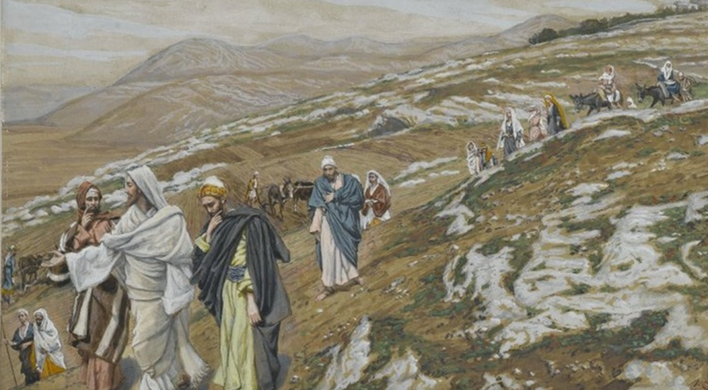 06.02.00.A. THE ROAD FROM NAZARETH TO JERUSALEM by James Tissot. 1880.