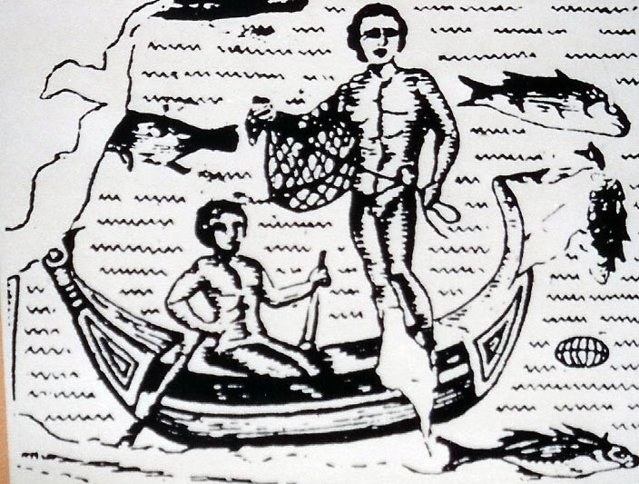 06.03.01.E. AN OLD ILLUSTRATION OF FISHERMEN FISHING WITH A CAST-NET