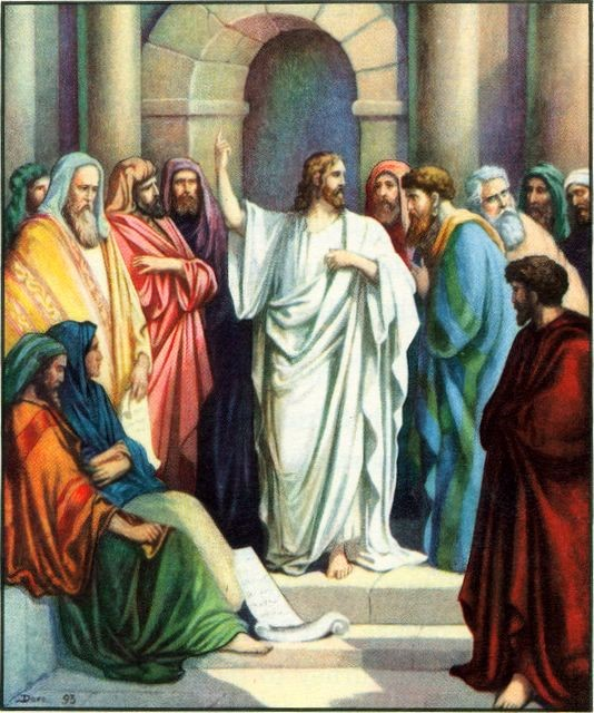 07.01.00.A. JESUS TEACHING IN THE TEMPLE. Artwork by Lillie A. Faris.