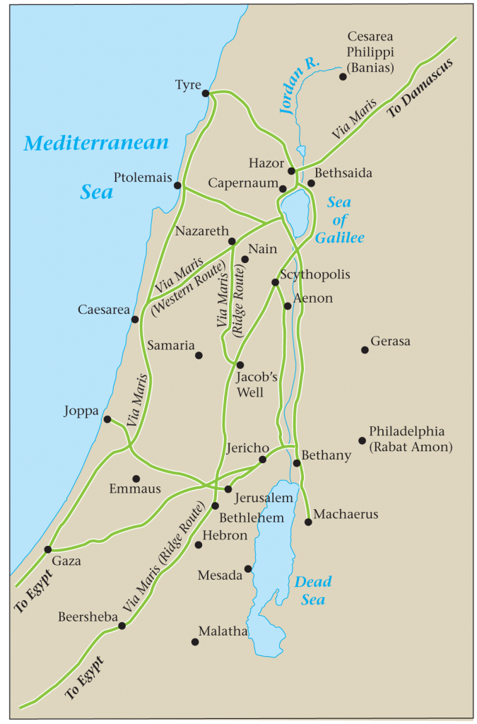 07.03.05.Z MAP OF MAJOR ROADS IN 1ST CENTURY ISRAEL