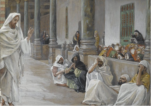 08.02.00.A. JESUS TEACHES THE CROWDS by James Tossit 1885.