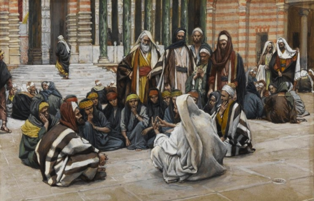 08.04.00.A. JESUS SPEAKS NEAR THE TREASURY by James Tossit.