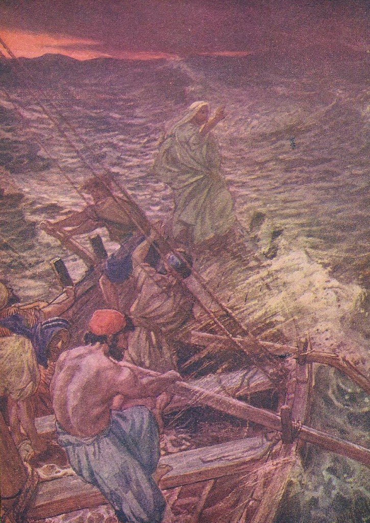 08.06.00.A. JESUS COMMANDS THE WINDS AND THE WAVES. Artwork by William Hole of the Royal Scottish Academy of Art, 1876. (2)