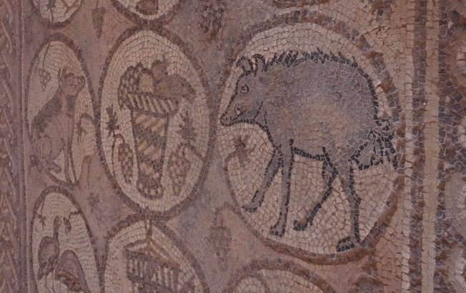 08.06.03.D. A MOSAIC FLOOR FEATURING A VARIETY OF ANIMALS, INCLUDING A WILD BOAR (2)