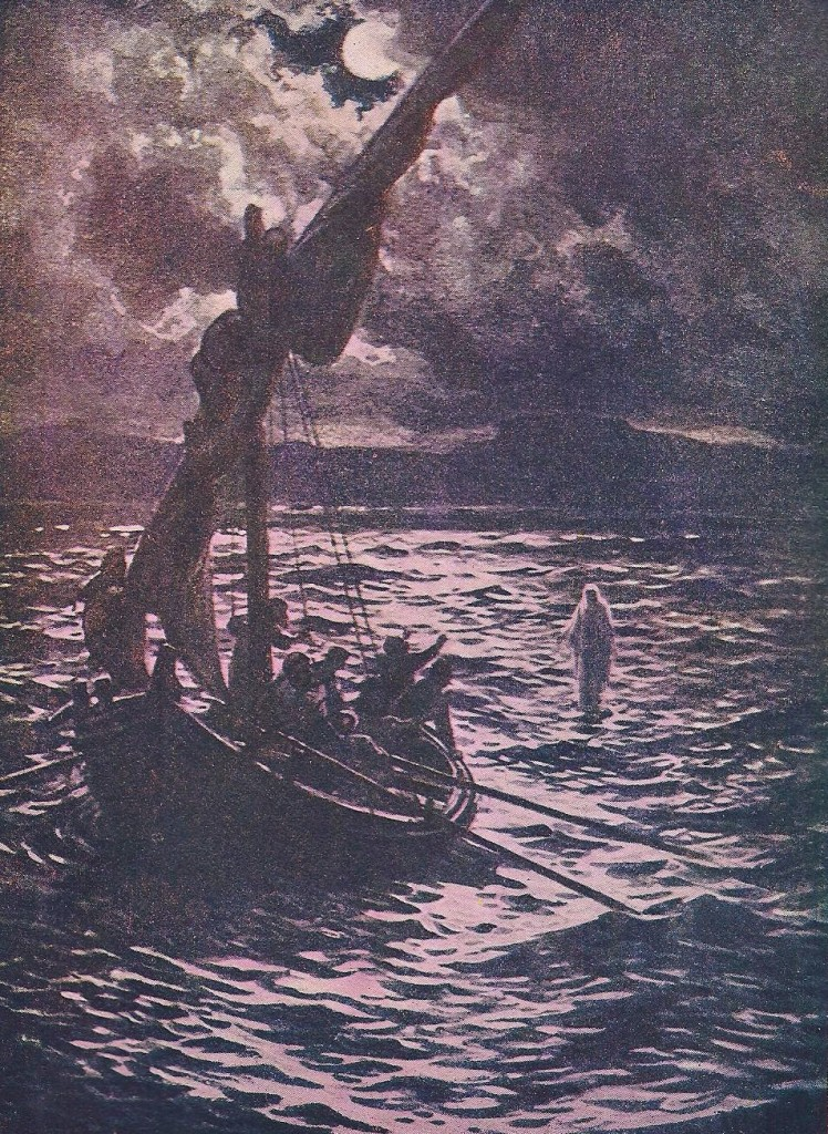 10.01.00.A. JESUS WALKS ON WATER AT NIGHT. Artwork by William Hole of the Royal Scottish Academy of Art, 1876. (2)